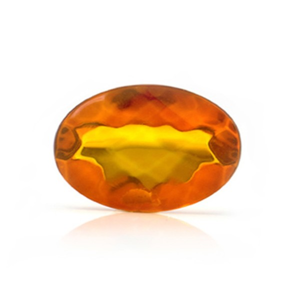 Natural amber, cognac-colored, faceted, diagonal chessboard pattern, oval, 16 x 12 mm