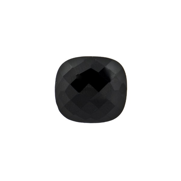 Onyx, black, faceted briolette, antique shape, 10 x 10 mm