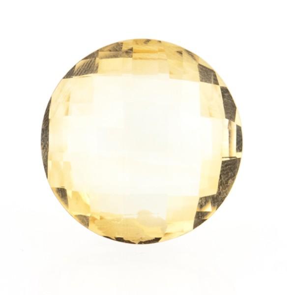 Citrine, light golden color, faceted briolette, round, 16 mm