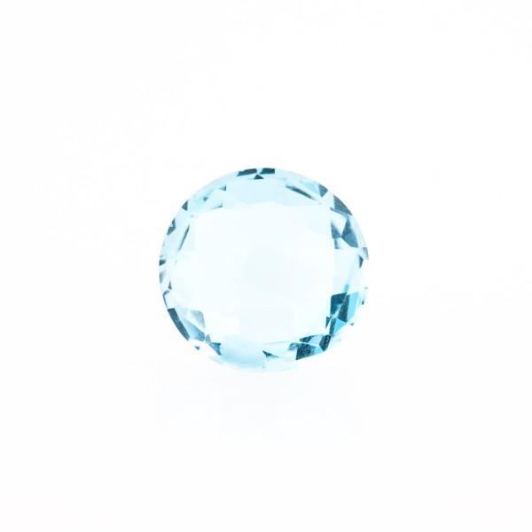 Blue topaz, sky blue, faceted briolette, round, 10 mm