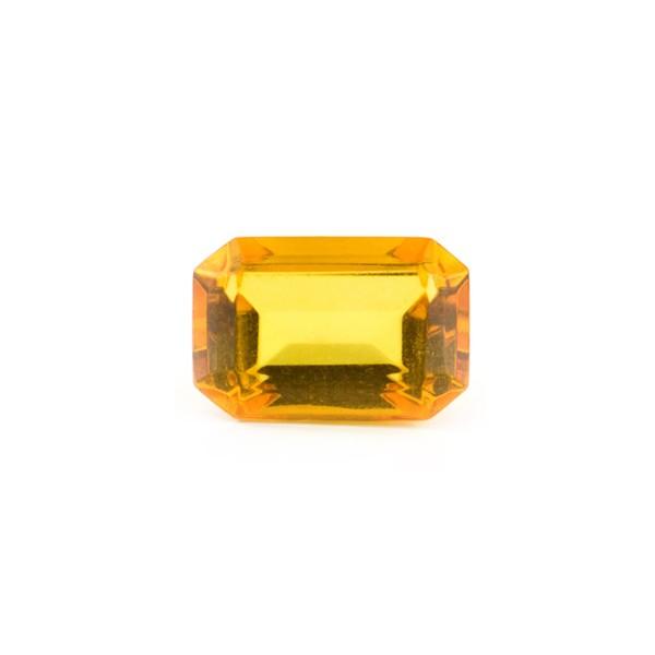 Natural amber, golden, faceted, octagonal, 10 x 8 mm