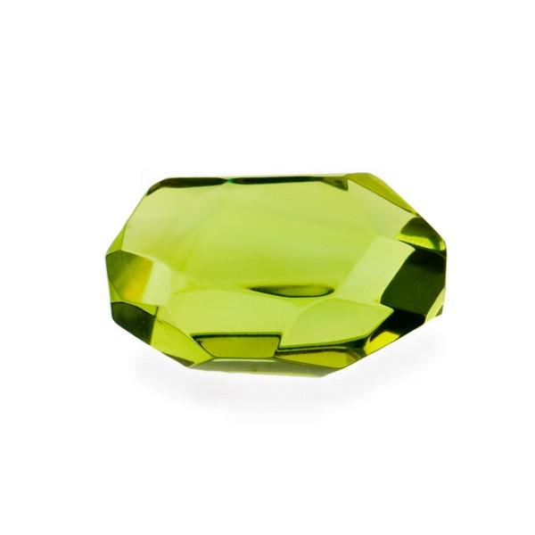 Natural amber, green, nugget, briolette, fancy faceted, irregular shape, 25 x 18 mm