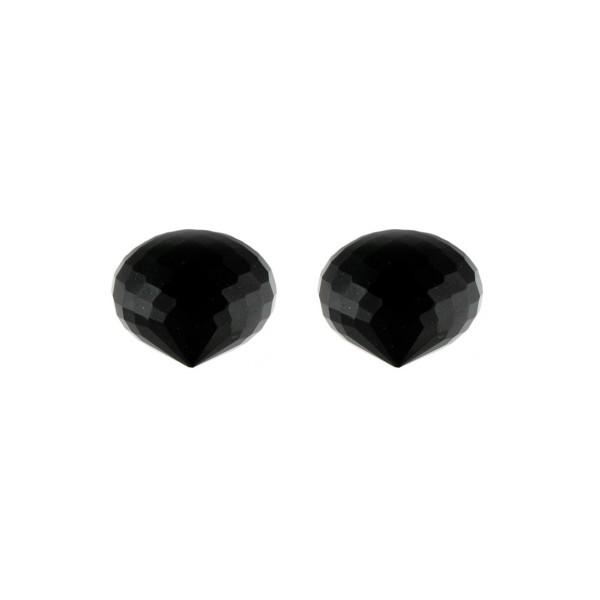 Onyx, black, faceted teardrop, onion shape, 13 x 11 mm