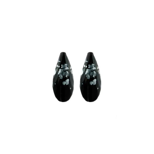 Schneeflockenobsidian, schwarz-weiß gesprenkelt, Pampel, facettiert, 15x6 mm