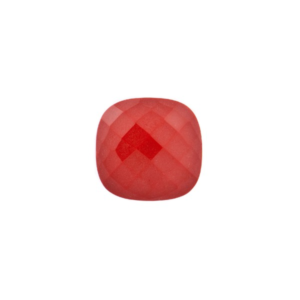 Coral, reconstructed, carmine red, faceted briolette, antique shape, 8 x 8 mm
