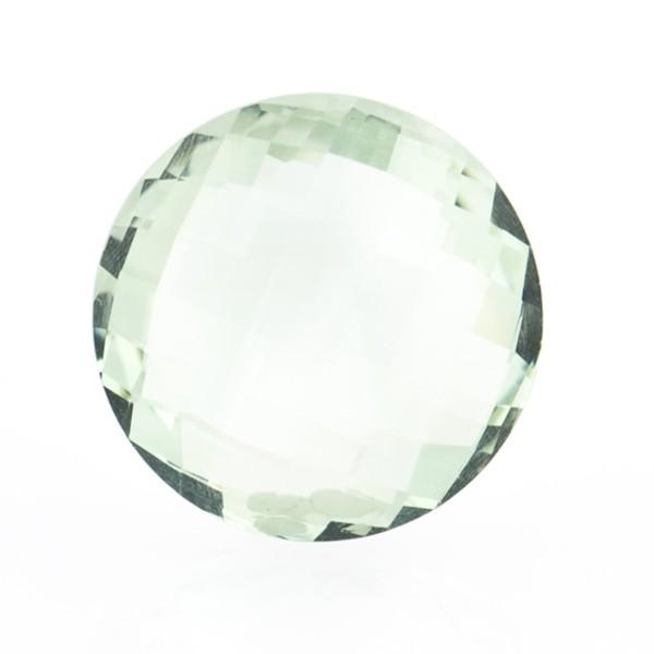 Prasiolite (green amethyst), green, faceted briolette, round, 18 mm