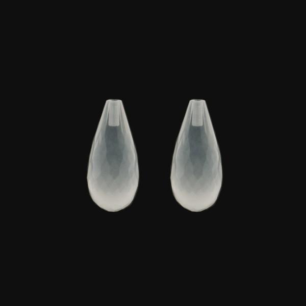 Milky quartz, white, teardrop, faceted, 18 x 10 mm