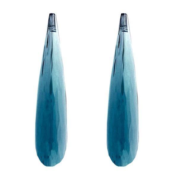 Blautopas, London Blue, dunkelblau, Pampel, facettiert, 41x9 mm