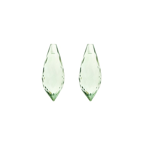 Prasiolite (green amethyst), green, pointed teardrop, faceted, 20 x 8 mm