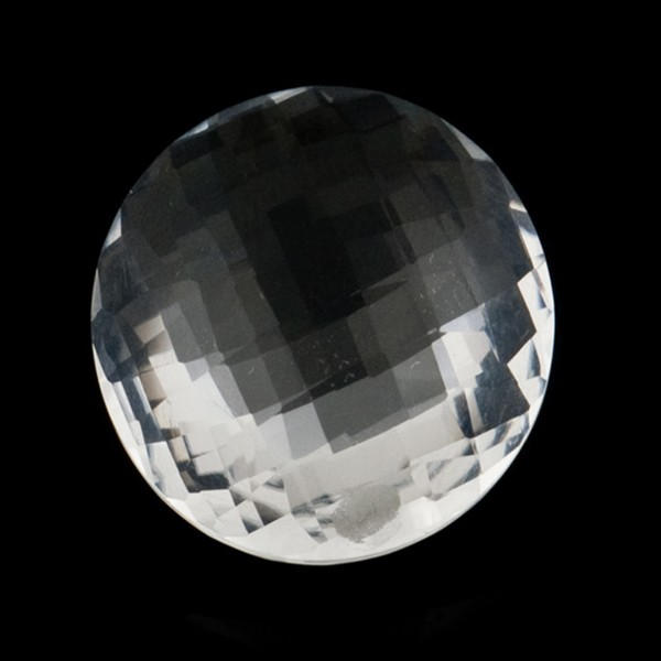 Rock crystal, transparent, colorless, faceted briolette, round, 18 mm