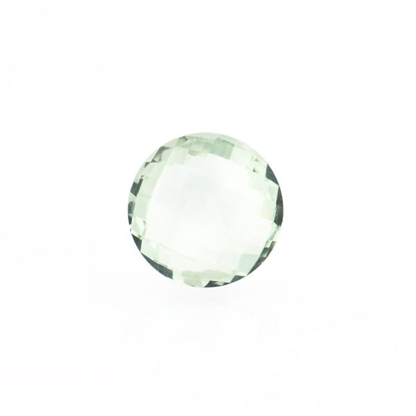 Prasiolite (green amethyst), green, faceted briolette, round, 10 mm