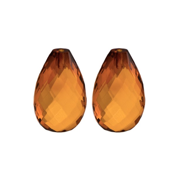 Natural amber, cognac-colored, teardrop, faceted, harlequine, 22 x 14 x 8.5 mm