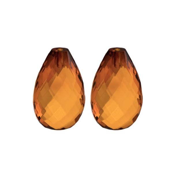 Bernstein (natur), cognacfarben, Pampel, facettiert, Harlekin, 22x 14x8.5mm