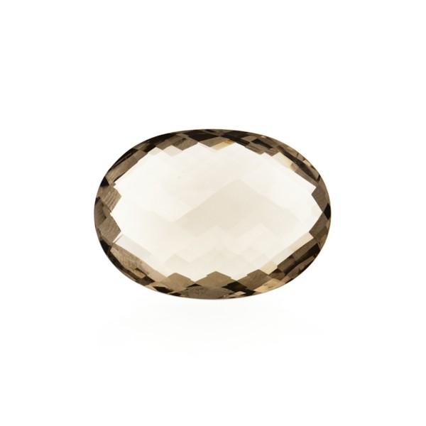 Smoky quartz, light brown, faceted briolette, oval, 14 x 12 mm