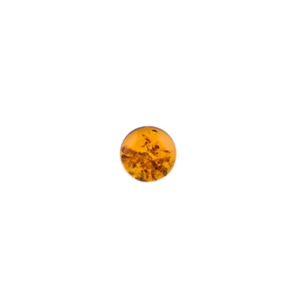 Natural amber, cognac-colored, cabochon, round, 6 mm