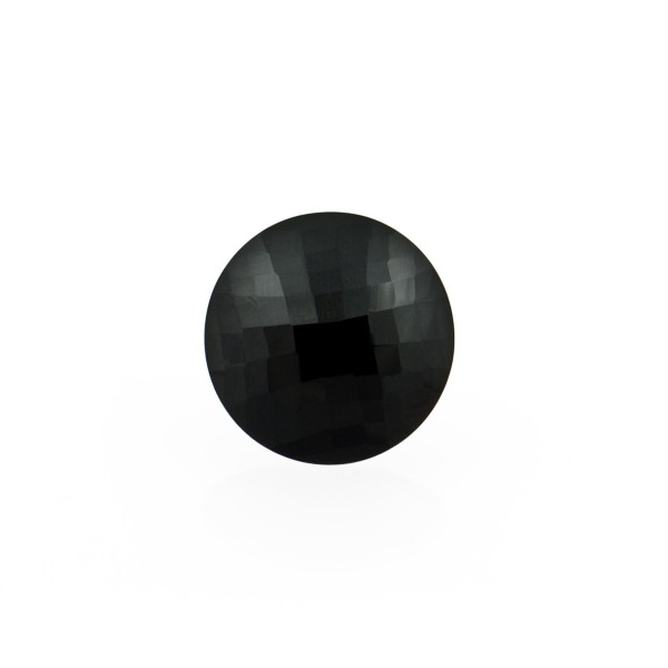 Onyx, black, faceted briolette, round, 10 mm