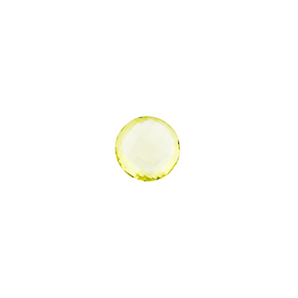 Lemon quartz, light lemon, faceted briolette, round, 6 mm