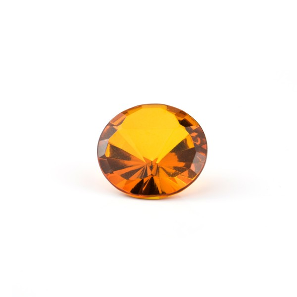 Natural amber, cognac-colored, fancy faceted, triangle, top, round, 18 mm