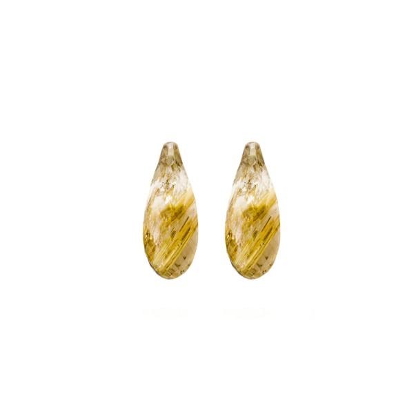 Rutilquarz, goldene Nadeln, Pampel, facettiert, 15x6 mm