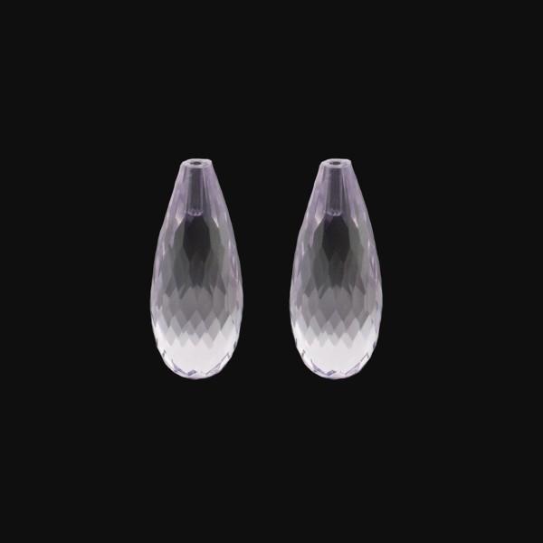 Amethyst (Brazil), lavender, faceted teardrop, 22 x 10 mm