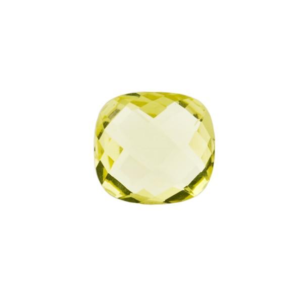 Lemon quartz, light lemon, faceted briolette, antique shape, 10 x 10 mm