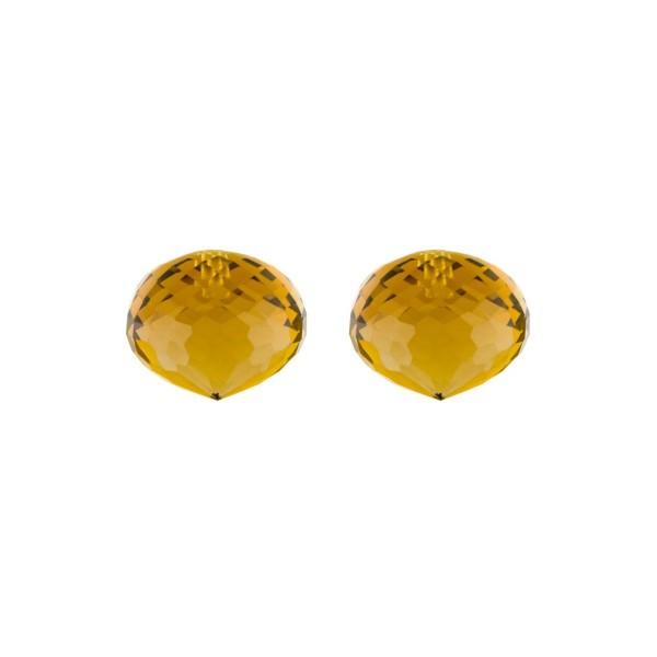 Cognac quartz, cognac-colored, teardrop, faceted, onion shape, 13 x 11 mm