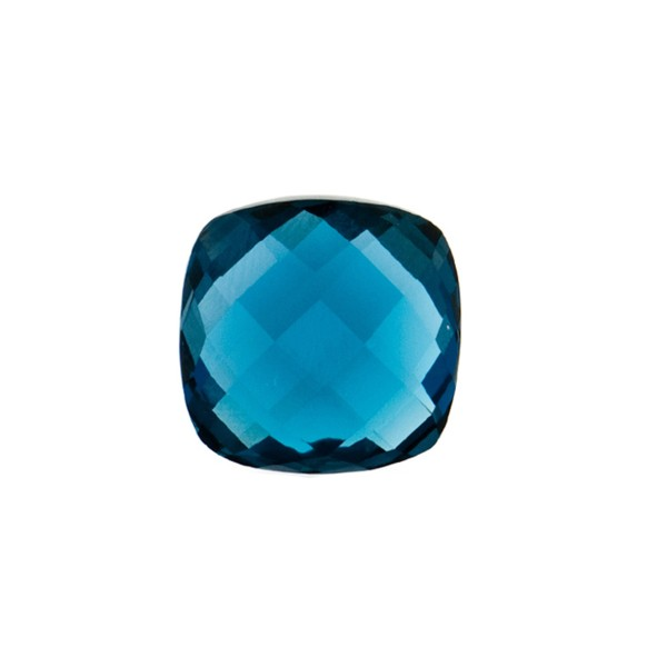 Blue topaz, london blue, faceted briolette, antique shape, 12 x 12 mm