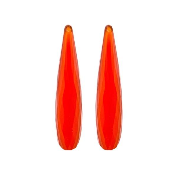Achat, gefärbt, rot, Pampel, facettiert, 35x8 mm
