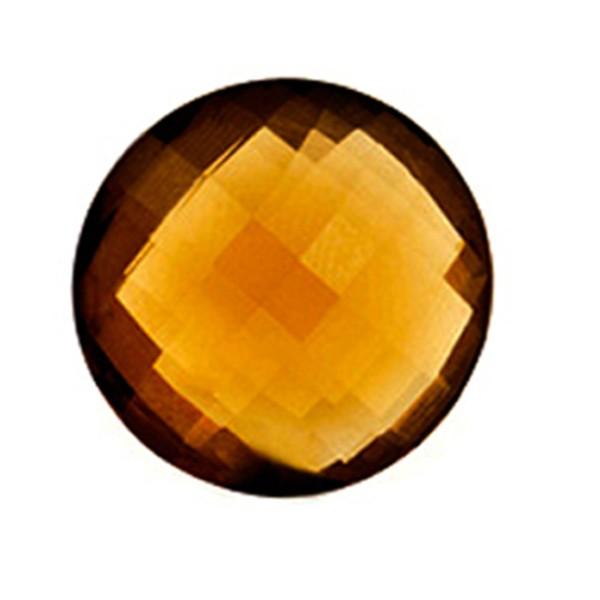 Cognac quartz, cognac-colored, faceted briolette, round, 18 mm