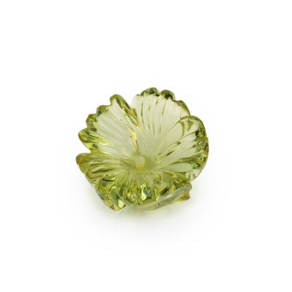 Bernstein (natur), grün, Blume, fünfblättrig, Ø 16-17mm