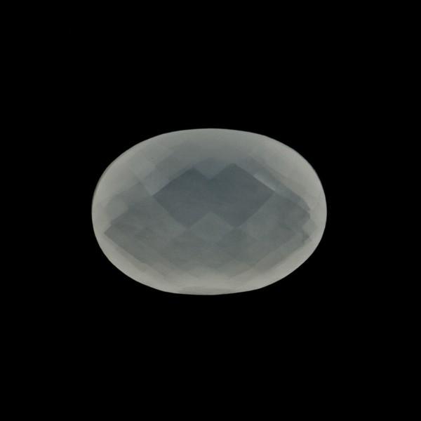 Milky quartz, white, faceted briolette, oval, 14 x 12 mm