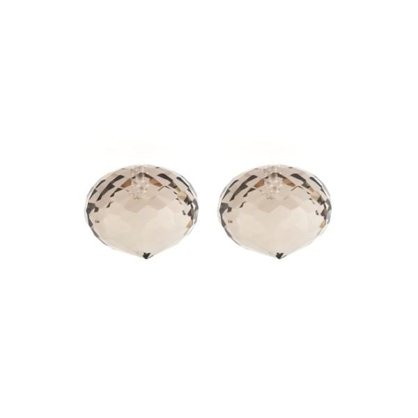 Smoky quartz, light brown, faceted teardrop, onion shape, 13 x 11 mm