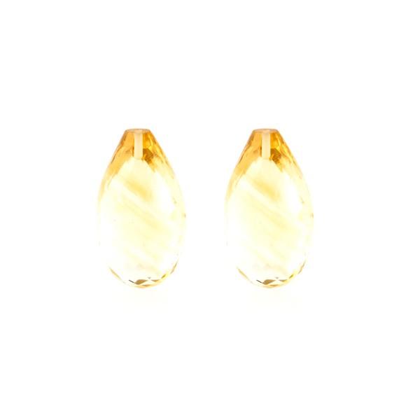 Citrine, golden color, faceted teardrop (harlequine), 18x11mm