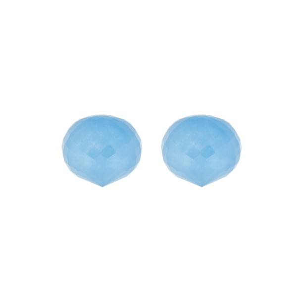 Jade, gefärbt, blau, Pampel, facettiert, Zwiebelform, 13x11mm