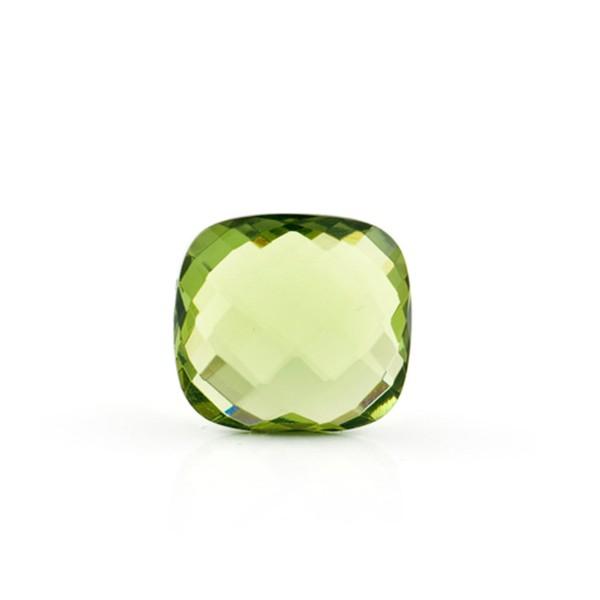 Bernstein (natur), grün, Briolett, facettiert, antik, 12x12mm