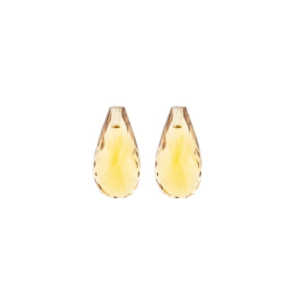Citrine, light golden color, teardrop, faceted, 15 x 8 mm