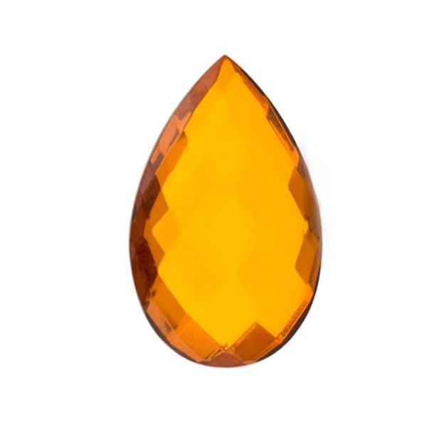 Natural amber, cognac-colored, briolette, pear shape, 16 x 12 mm