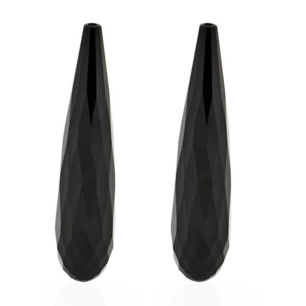 Onyx, schwarz, Pampel, facettiert, 41x9 mm