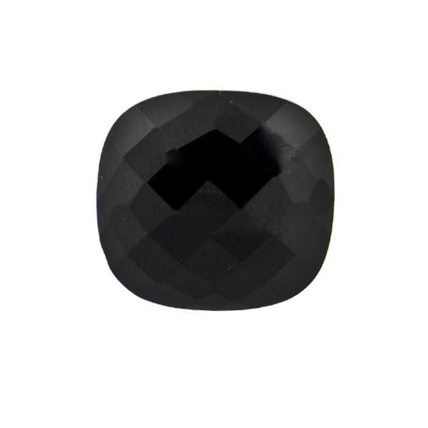 Onyx, black, faceted briolette, antique shape, 14 x 14 mm