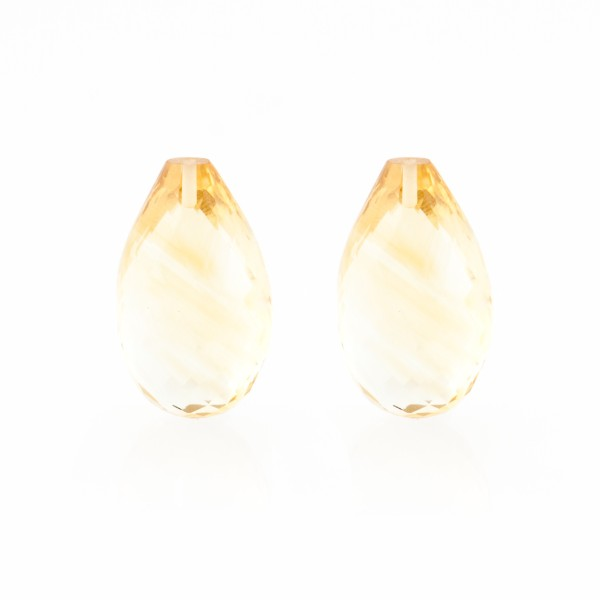 Citrine, golden color, faceted teardrop (harlequine), 22x14mm