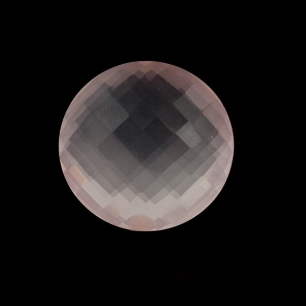 Rose quartz, pink, faceted briolette, round, 14 mm