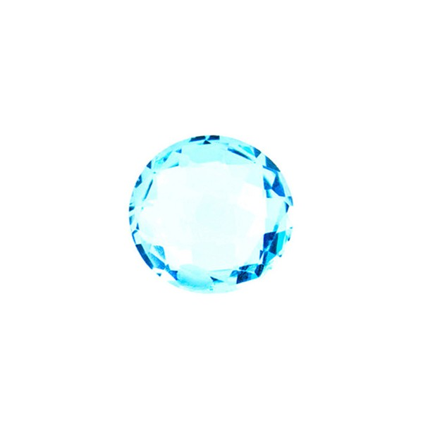 Blue topaz, swiss blue (intense), faceted briolette, round, 10 mm