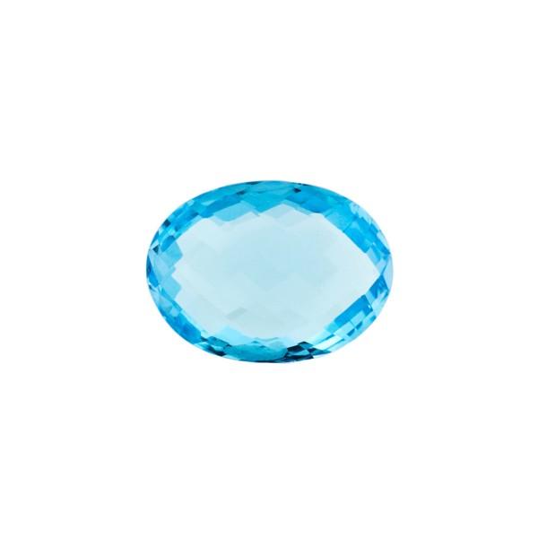 Blautopas, Swiss Blue, intensiv, Briolett, facettiert, oval, 12x10mm