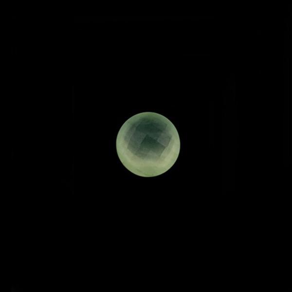Prehnit, grün, Briolett, facettiert, rund, 6 mm