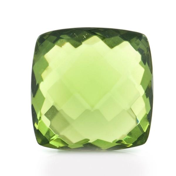 Natural amber, green, briolette, antique shape (sharp corners), 18 x 18 mm