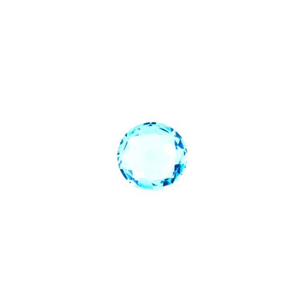 Blautopas, Swiss Blue, intensiv, Briolett, facettiert, rund, 6 mm