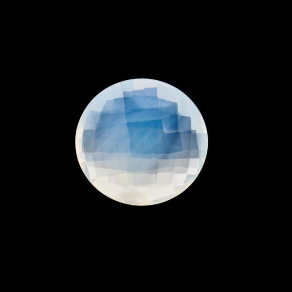 Citrine, white, faceted briolette, round, 12 mm