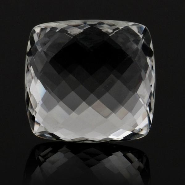 Rock crystal, transparent, colorless, faceted briolette, antique shape, 18 x 18 mm