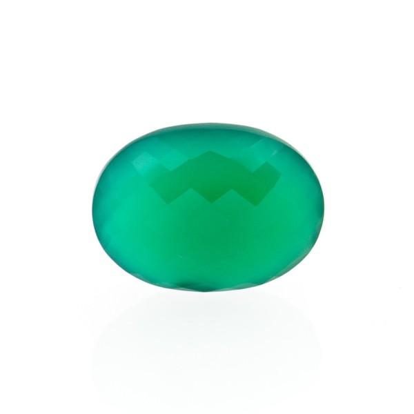 Achat, gefärbt, grün, Briolett, facettiert, oval, 14x12mm