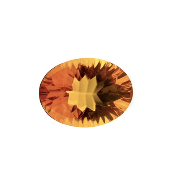 Natural amber, cognac-colored, buff top, concave, oval, 14 x 10 mm